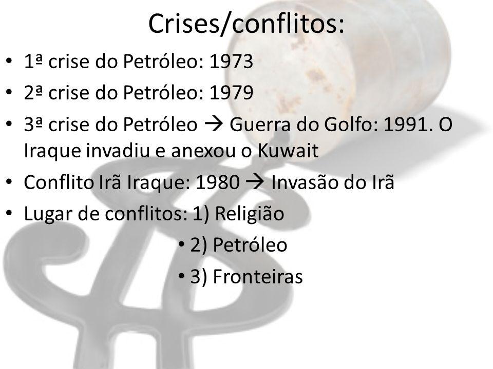 Crises/conflitos: 1ª crise do Petróleo: 1973 2ª crise do Petróleo: 1979 3ª crise do Petróleo Guerra do Golfo: 1991. O Iraque invadiu e anexou o Kuwait