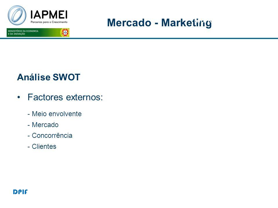 Mercado - Marketing Marketing Análise SWOT Factores externos: - Meio envolvente - Mercado - Concorrência - Clientes DPIF