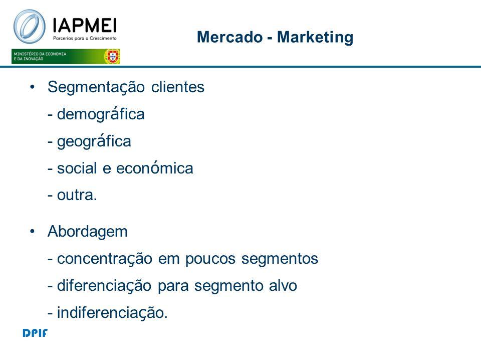 Mercado - Marketing Segmenta ç ão clientes - demogr á fica - geogr á fica - social e econ ó mica - outra. Abordagem - concentra ç ão em poucos segment