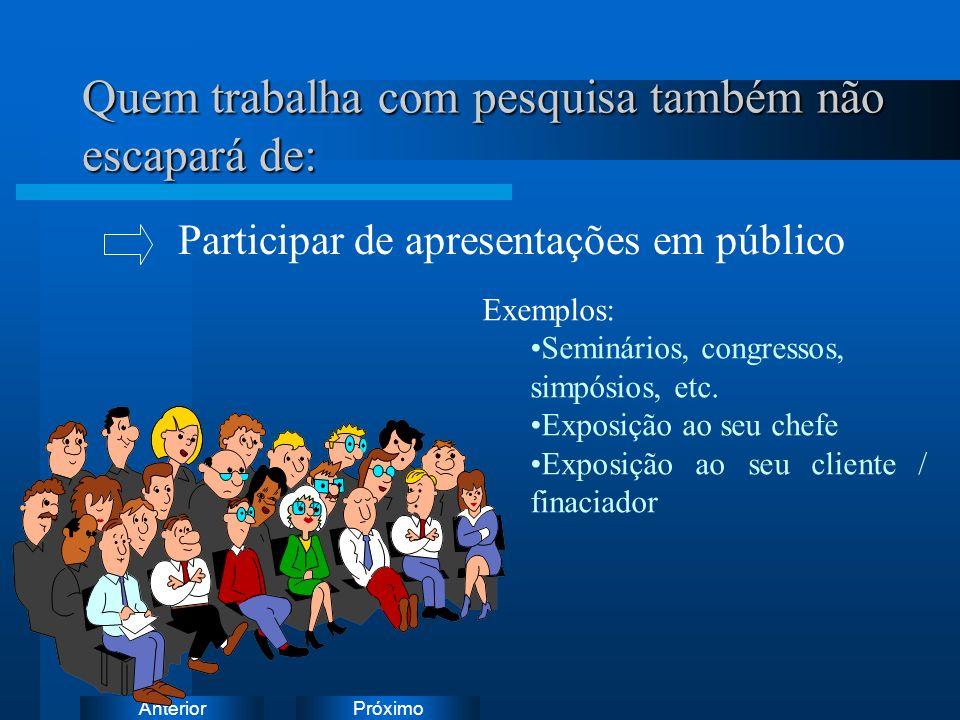 PróximoAnterior Quem trabalha com pesquisa também não escapará de: Exemplos: Seminários, congressos, simpósios, etc.