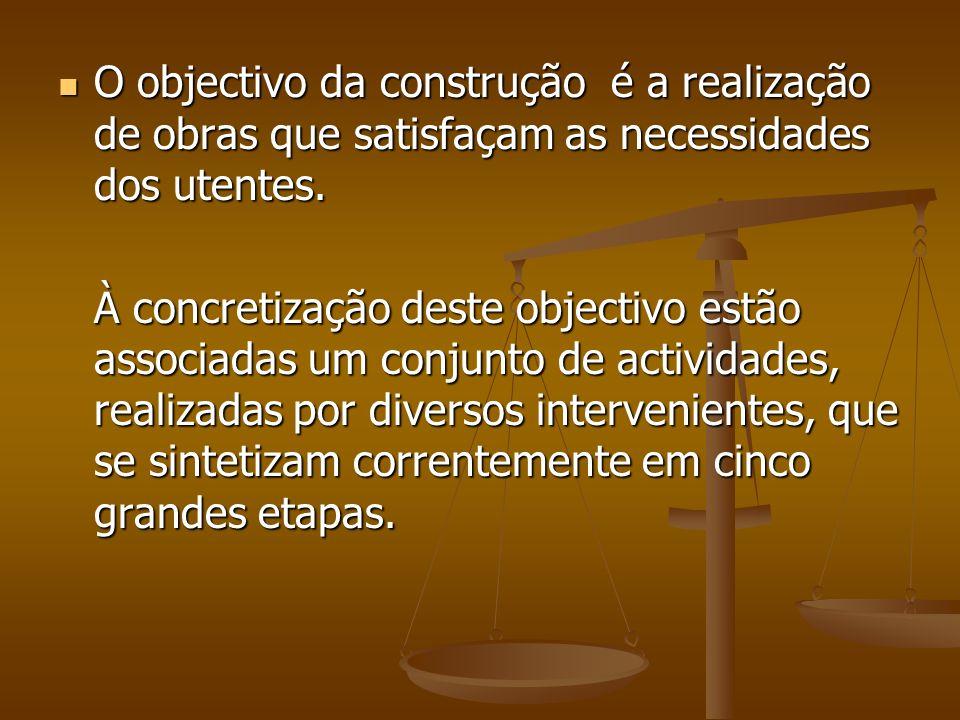 O objectivo da construção é a realização de obras que satisfaçam as necessidades dos utentes.