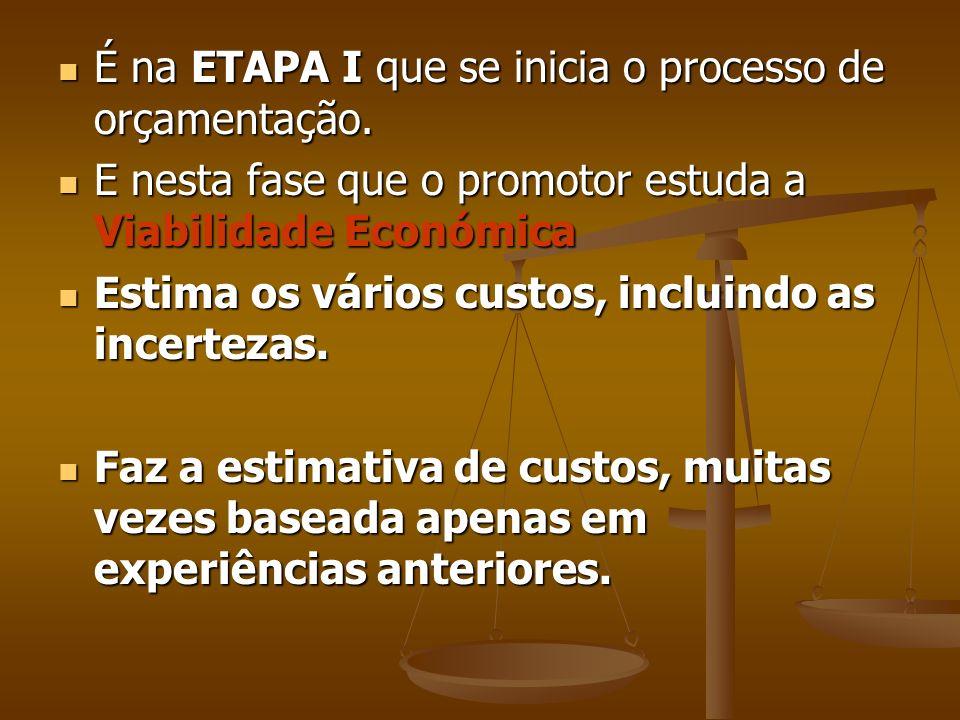 É na ETAPA I que se inicia o processo de orçamentação.