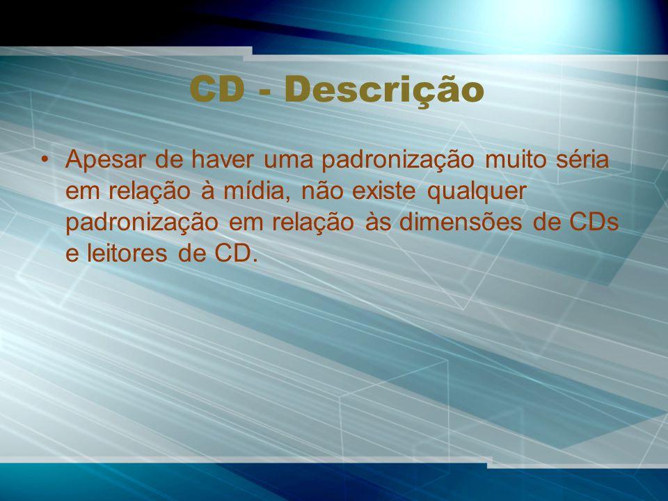 CD - Descrição Apesar de haver uma padronização muito séria em relação à mídia, não existe qualquer padronização em relação às dimensões de CDs e leitores de CD.