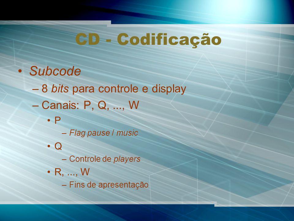 CD - Codificação Subcode –8 bits para controle e display –Canais: P, Q,..., W P –Flag pause / music Q –Controle de players R,..., W –Fins de apresentação