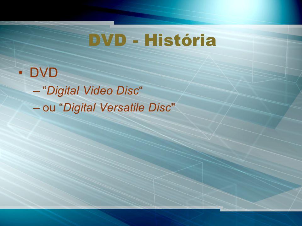 DVD - História DVD –Digital Video Disc –ou Digital Versatile Disc