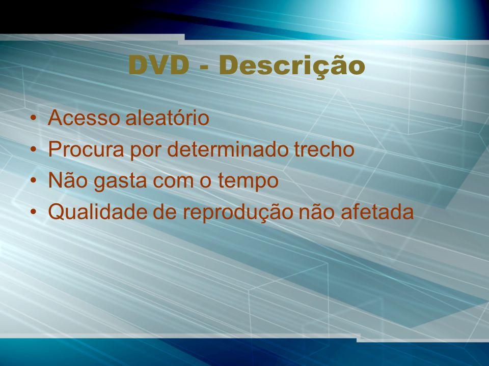 DVD - Descrição Acesso aleatório Procura por determinado trecho Não gasta com o tempo Qualidade de reprodução não afetada