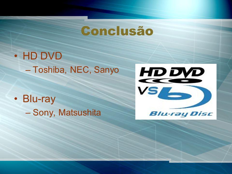 Conclusão HD DVD –Toshiba, NEC, Sanyo Blu-ray –Sony, Matsushita
