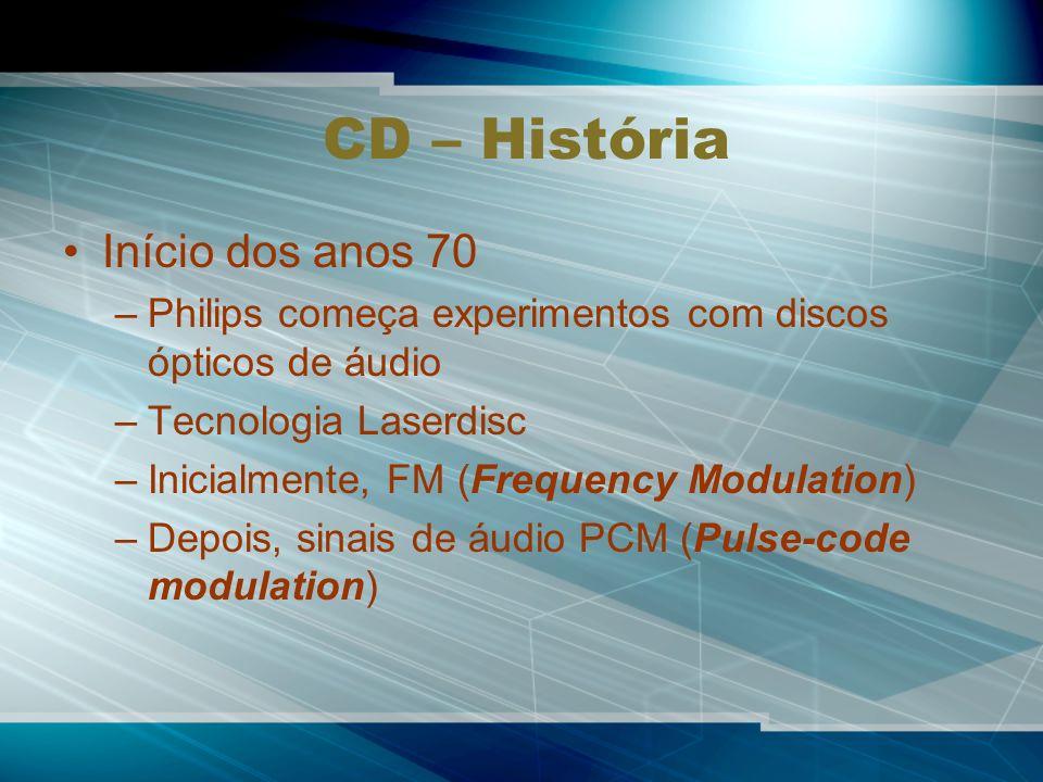CD – História Início dos anos 70 –Philips começa experimentos com discos ópticos de áudio –Tecnologia Laserdisc –Inicialmente, FM (Frequency Modulation) –Depois, sinais de áudio PCM (Pulse-code modulation)