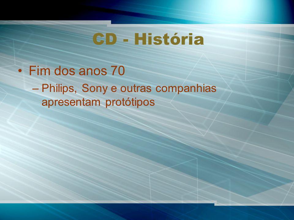 CD - História Fim dos anos 70 –Philips, Sony e outras companhias apresentam protótipos