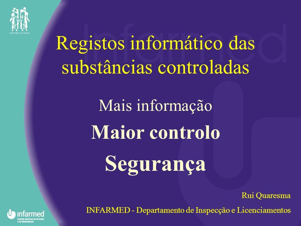 Registos informático das substâncias controladas Mais informação Maior controlo Segurança Rui Quaresma INFARMED - Departamento de Inspecção e Licencia