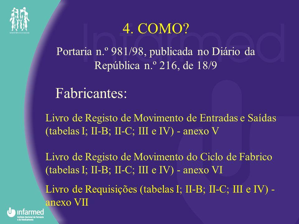 Livro de Registo de Movimento de Entradas e Saídas (tabelas I; II-B; II-C; III e IV) - anexo V Livro de Registo de Movimento do Ciclo de Fabrico (tabe