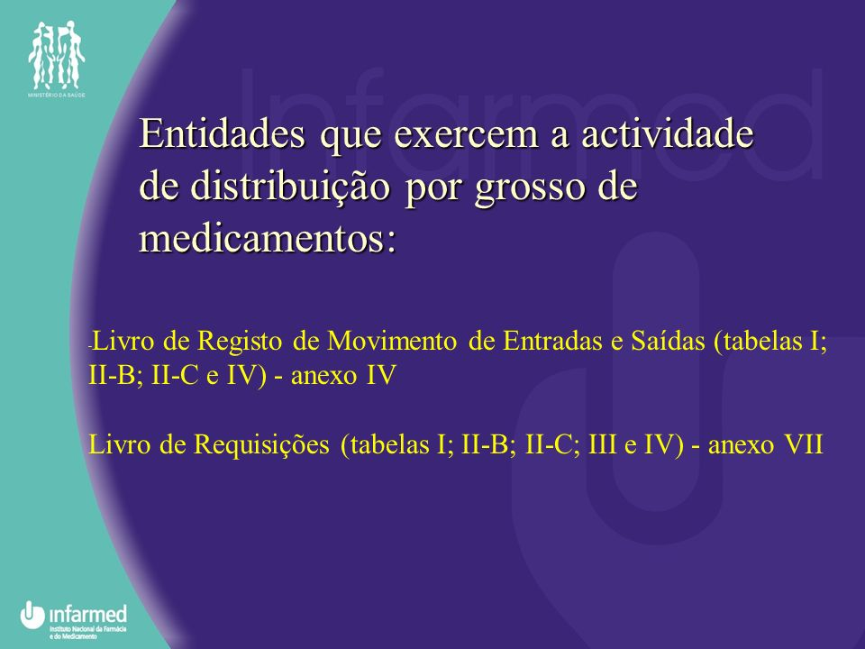Entidades Públicas e Privadas prestadoras de cuidados de saúde: Livro de Registo de Movimento de Entradas e Saídas (tabelas I; II-B; II-C e IV) - anexo IV Livro de Requisições (tabelas I; II-B; II-C; III e IV) - anexo VII Livro de Requisições (tabelas I; II-B; II-C; III e IV) - anexo X