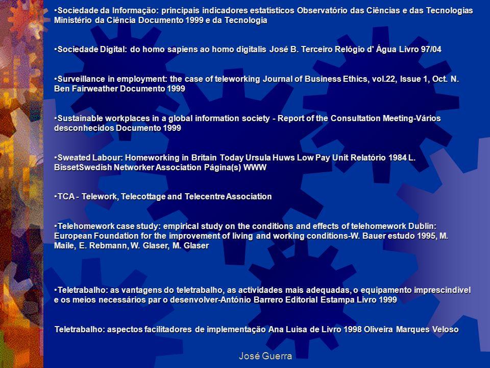 José Guerra Sociedade da Informação: principais indicadores estatísticos Observatório das Ciências e das Tecnologias Ministério da Ciência Documento 1