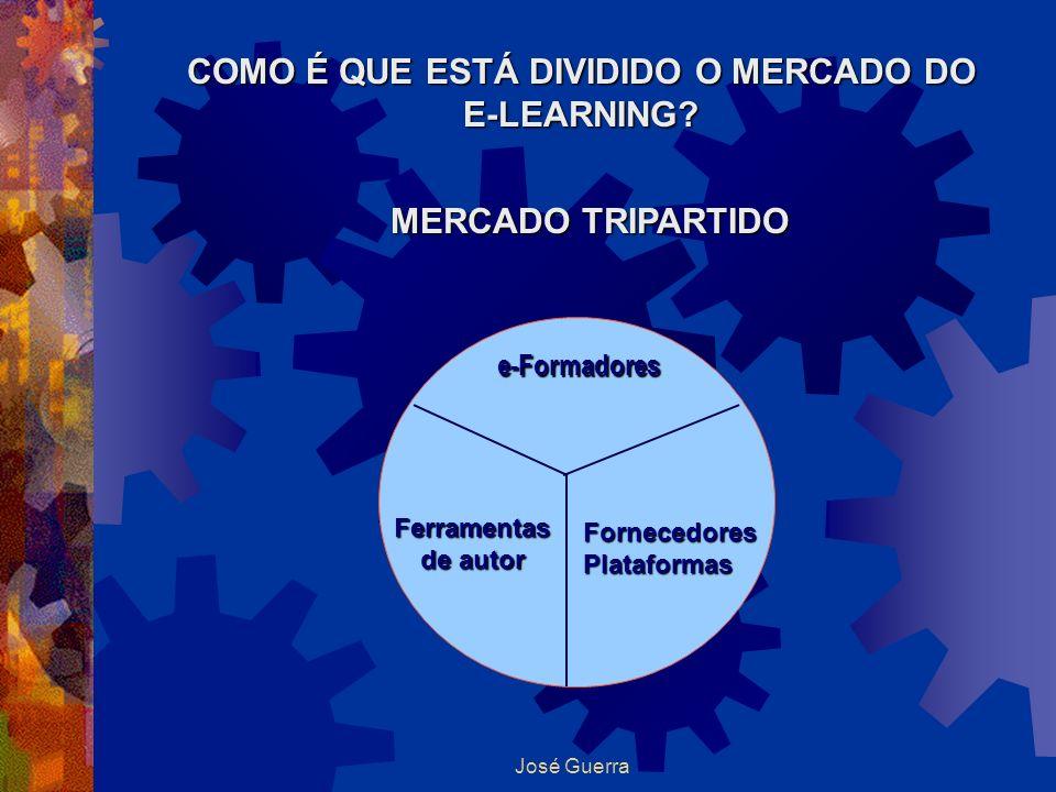José Guerra COMO É QUE ESTÁ DIVIDIDO O MERCADO DO E-LEARNING? MERCADO TRIPARTIDO e-Formadores Ferramentas de autor Fornecedores Plataformas