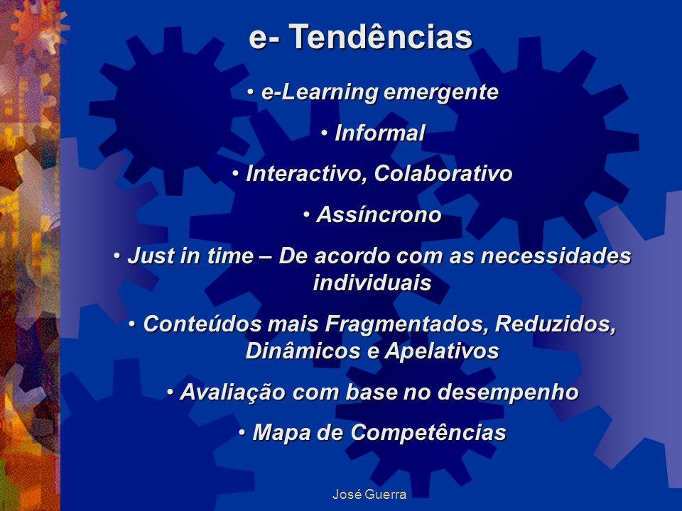 e- Tendências e-Learning emergente e-Learning emergente Informal Informal Interactivo, Colaborativo Interactivo, Colaborativo Assíncrono Assíncrono Ju