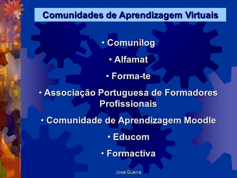 José Guerra Comunidades de Aprendizagem Virtuais Comunilog Comunilog Alfamat Alfamat Forma-te Forma-te Associação Portuguesa de Formadores Profissiona