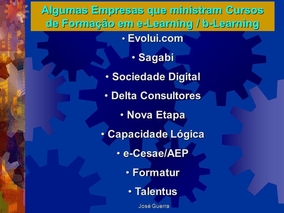 José Guerra Algumas Empresas que ministram Cursos de Formação em e-Learning / b-Learning Evolui.com Evolui.com Sagabi Sagabi Sociedade Digital Socieda