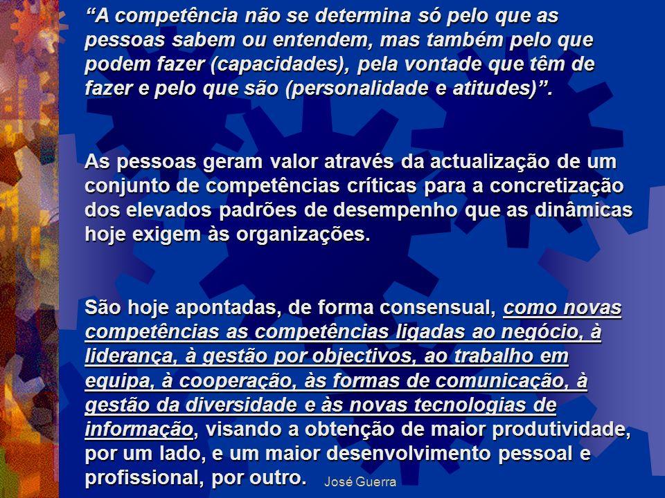 A competência não se determina só pelo que as pessoas sabem ou entendem, mas também pelo que podem fazer (capacidades), pela vontade que têm de fazer