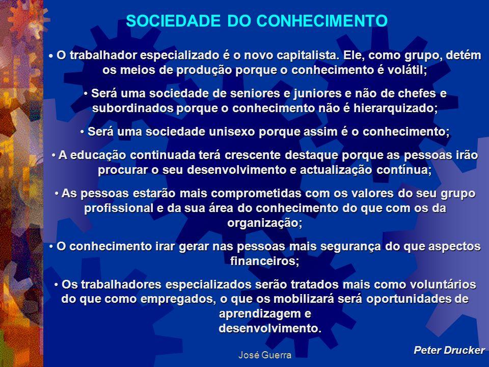 José Guerra SOCIEDADE DO CONHECIMENTO O trabalhador especializado é o novo capitalista. Ele, como grupo, detém os meios de produção porque o conhecime