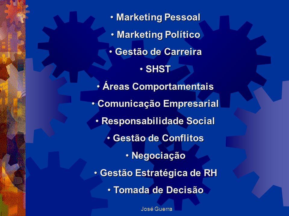 José Guerra Marketing Pessoal Marketing Pessoal Marketing Político Marketing Político Gestão de Carreira Gestão de Carreira SHST SHST Áreas Comportame
