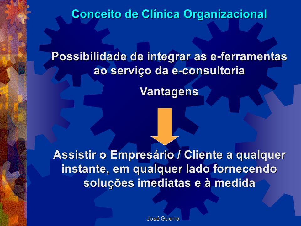 José Guerra Conceito de Clínica Organizacional Possibilidade de integrar as e-ferramentas ao serviço da e-consultoria Vantagens Assistir o Empresário