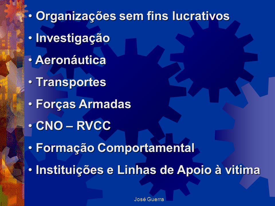 José Guerra Organizações sem fins lucrativos Organizações sem fins lucrativos Investigação Investigação Aeronáutica Aeronáutica Transportes Transporte