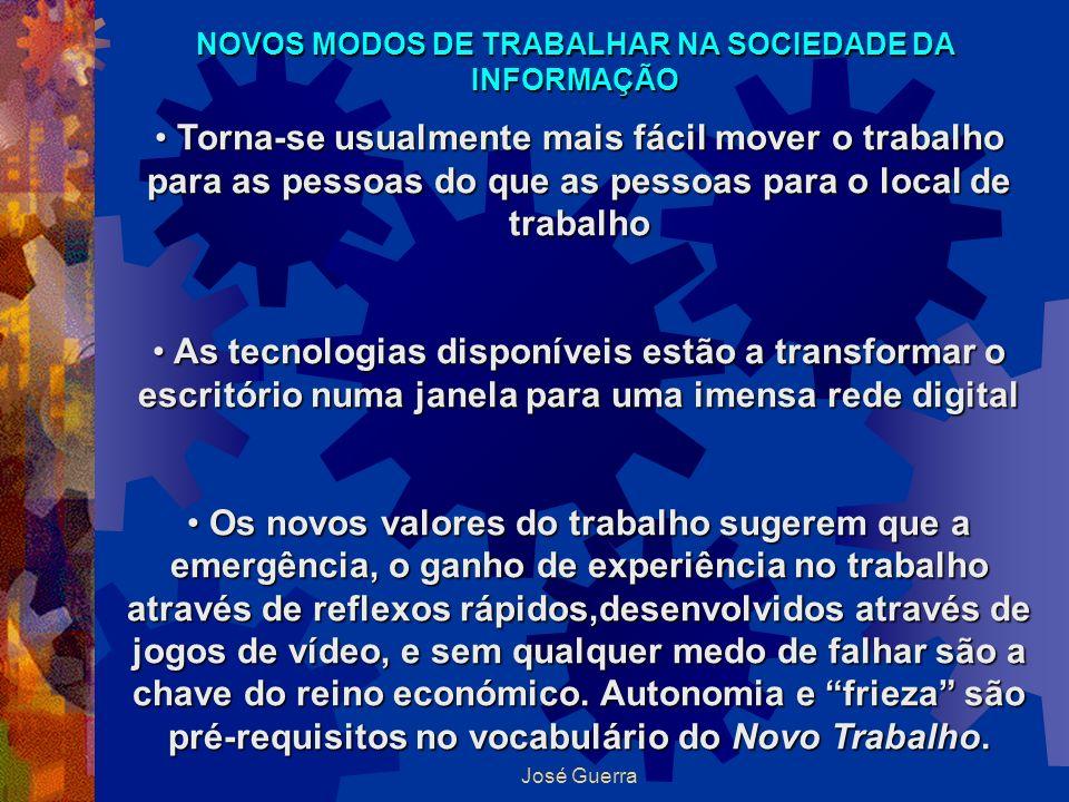 José Guerra NOVOS MODOS DE TRABALHAR NA SOCIEDADE DA INFORMAÇÃO Torna-se usualmente mais fácil mover o trabalho para as pessoas do que as pessoas para