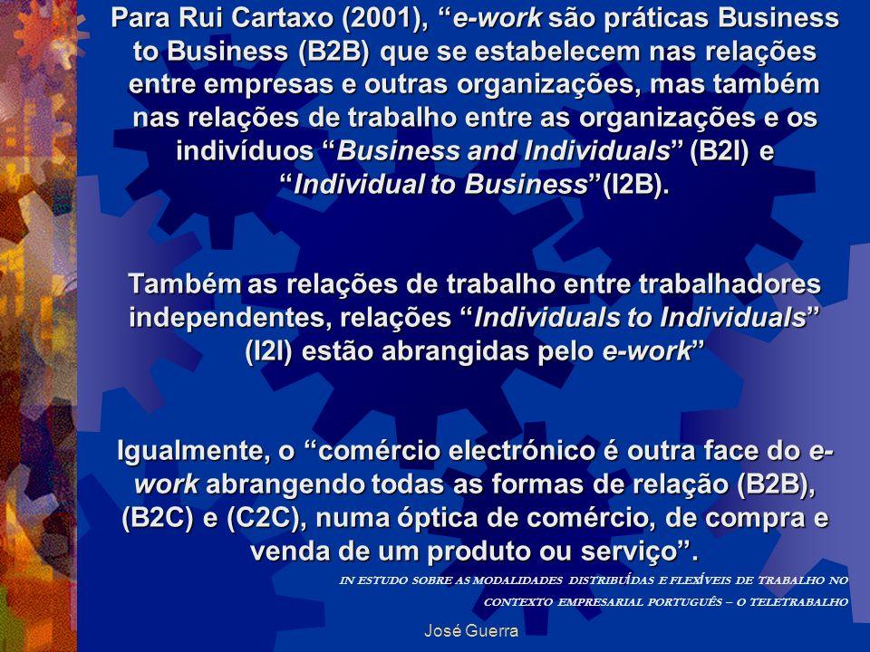 José Guerra Para Rui Cartaxo (2001), e-work são práticas Business to Business (B2B) que se estabelecem nas relações entre empresas e outras organizaçõ
