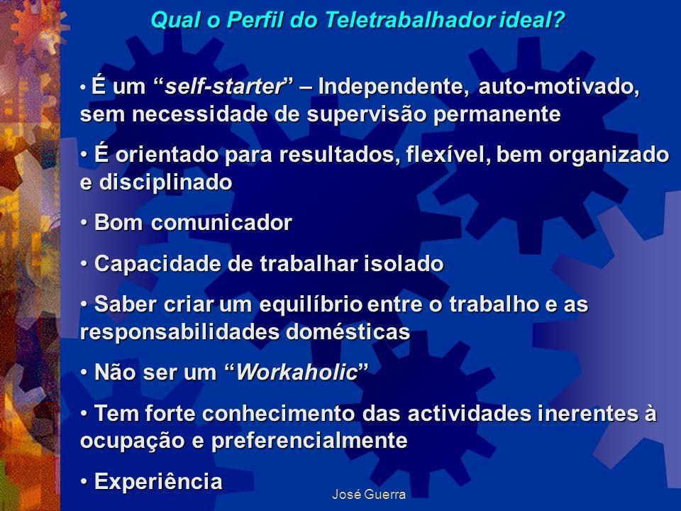 José Guerra Qual o Perfil do Teletrabalhador ideal? É um self-starter – Independente, auto-motivado, sem necessidade de supervisão permanente É orient