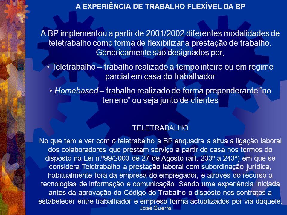 José Guerra A EXPERIÊNCIA DE TRABALHO FLEXÍVEL DA BP A BP implementou a partir de 2001/2002 diferentes modalidades de teletrabalho como forma de flexi