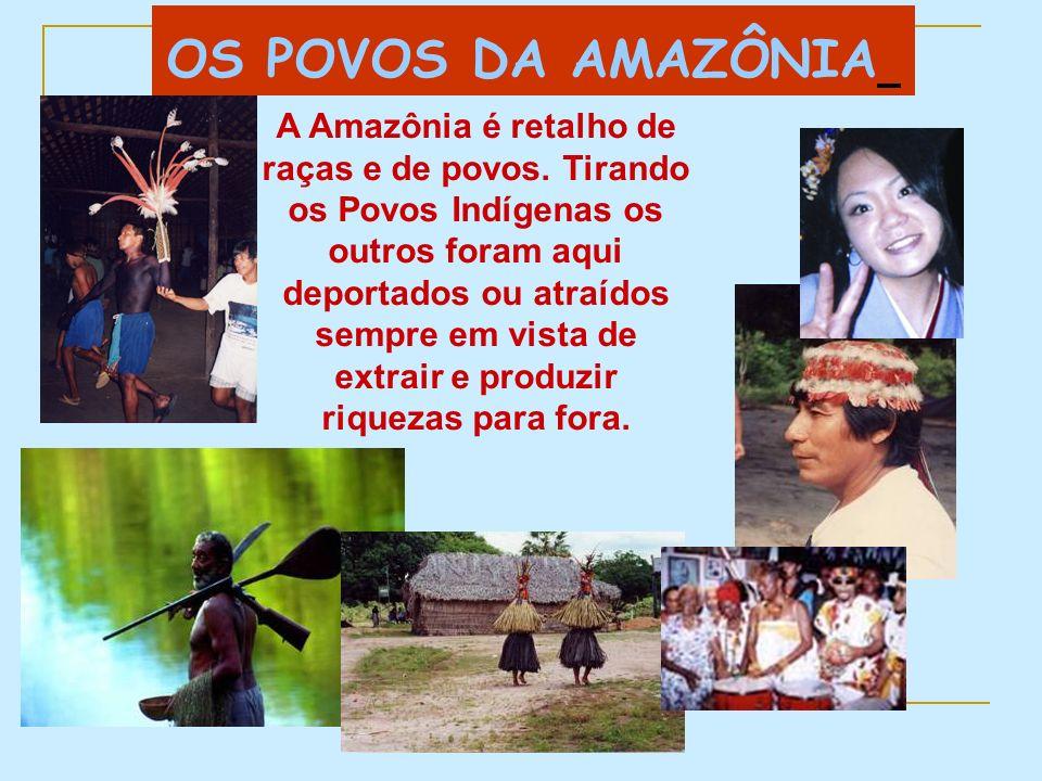 OS POVOS DA AMAZÔNIA A Amazônia é retalho de raças e de povos. Tirando os Povos Indígenas os outros foram aqui deportados ou atraídos sempre em vista
