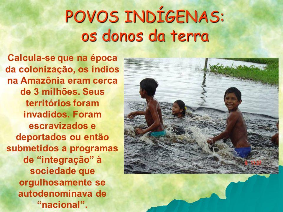 Calcula-se que na época da colonização, os índios na Amazônia eram cerca de 3 milhões. Seus territórios foram invadidos. Foram escravizados e deportad