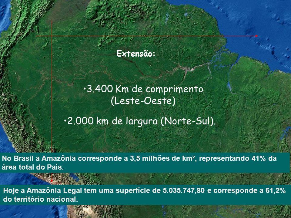 Extensão: 3.400 Km de comprimento (Leste-Oeste) 2.000 km de largura (Norte-Sul). No Brasil a Amazônia corresponde a 3,5 milhões de km², representando