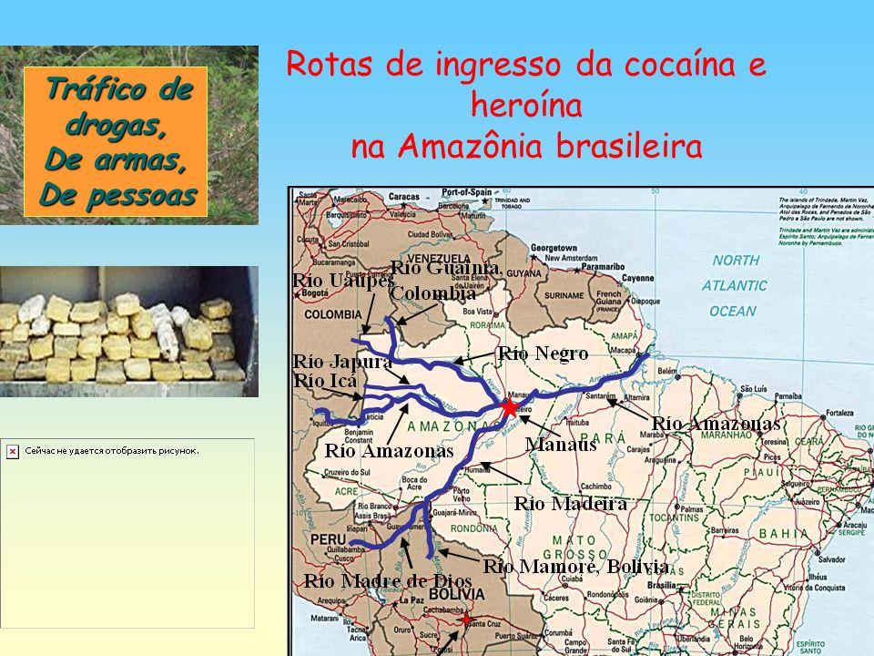 Rotas de ingresso da cocaína e heroína na Amazônia brasileira Tráfico de drogas, De armas, De pessoas