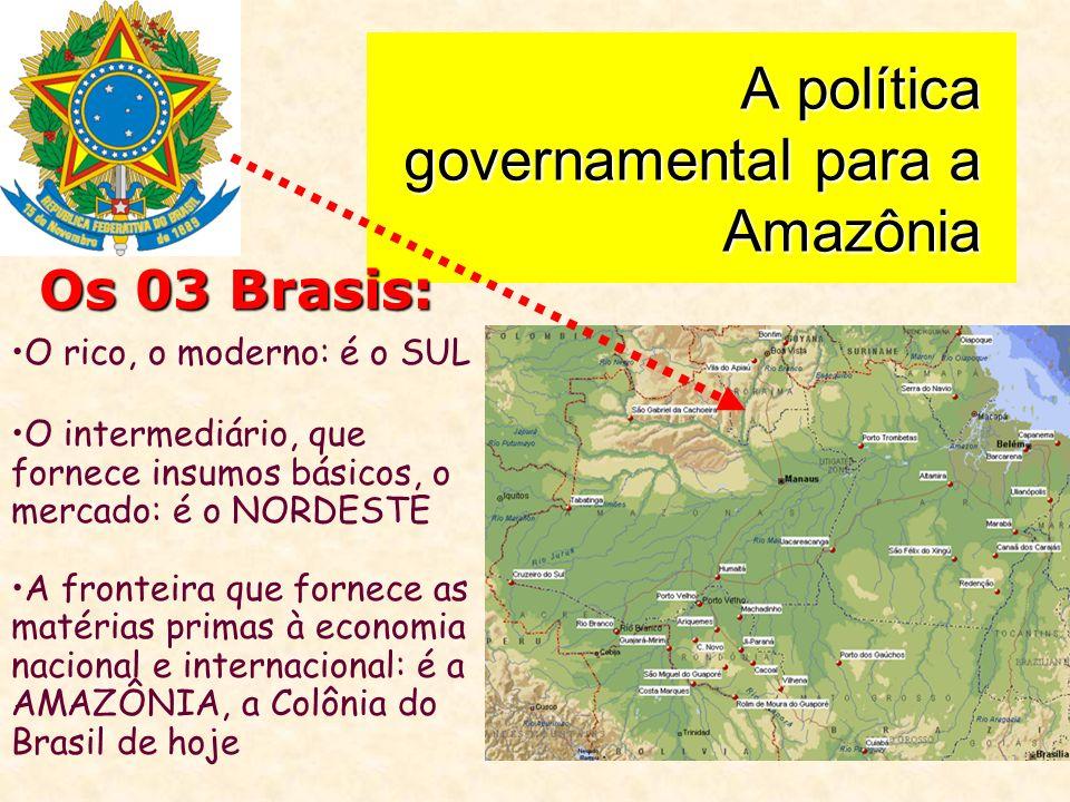 A política governamental para a Amazônia Os 03 Brasis: O rico, o moderno: é o SUL O intermediário, que fornece insumos básicos, o mercado: é o NORDESTE A fronteira que fornece as matérias primas à economia nacional e internacional: é a AMAZÔNIA, a Colônia do Brasil de hoje