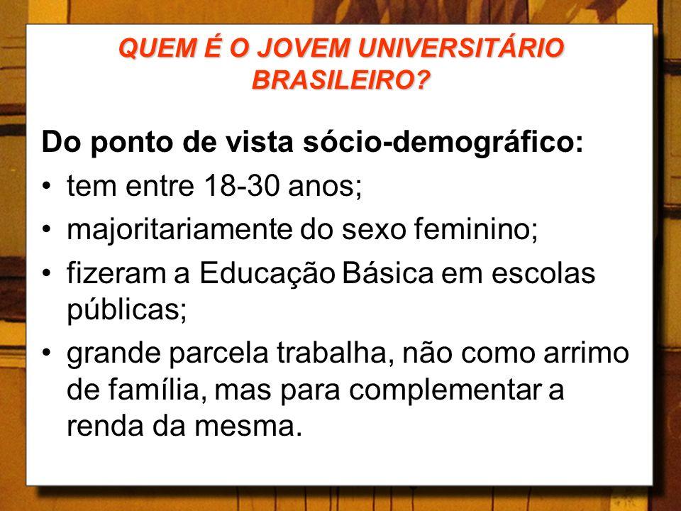 QUEM É O JOVEM UNIVERSITÁRIO BRASILEIRO? Do ponto de vista sócio-demográfico: tem entre 18-30 anos; majoritariamente do sexo feminino; fizeram a Educa