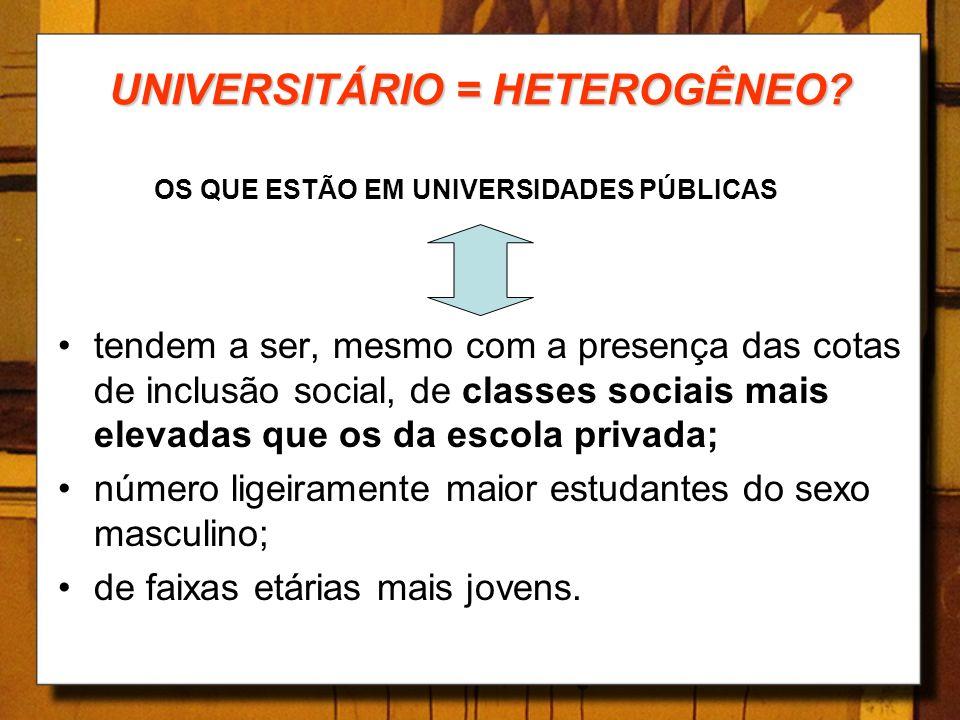 UNIVERSITÁRIO = HETEROGÊNEO? OS QUE ESTÃO EM UNIVERSIDADES PÚBLICAS tendem a ser, mesmo com a presença das cotas de inclusão social, de classes sociai