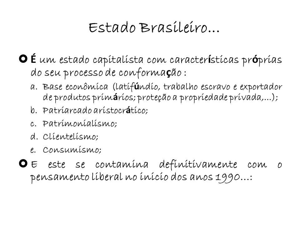 Estado Brasileiro... É um estado capitalista com caracter í sticas pr ó prias do seu processo de conforma ç ão : a.Base econômica (latif ú ndio, traba
