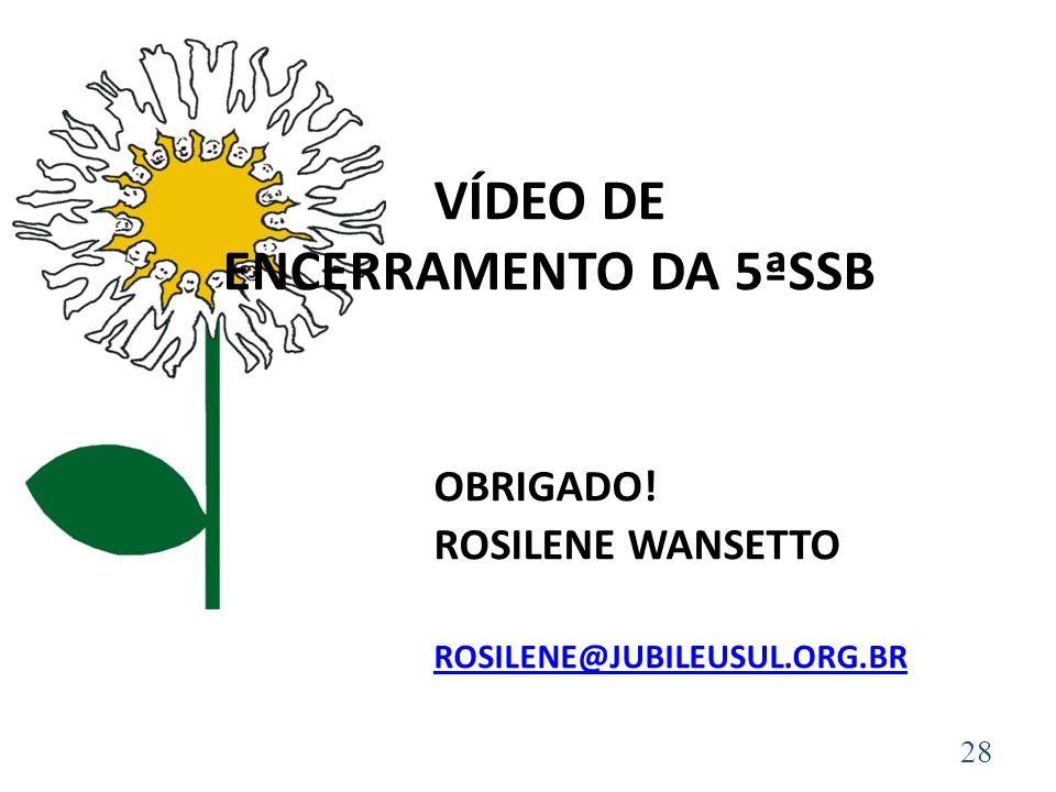 VÍDEO DE ENCERRAMENTO DA 5ªSSB OBRIGADO! ROSILENE WANSETTO ROSILENE@JUBILEUSUL.ORG.BR ROSILENE@JUBILEUSUL.ORG.BR 28
