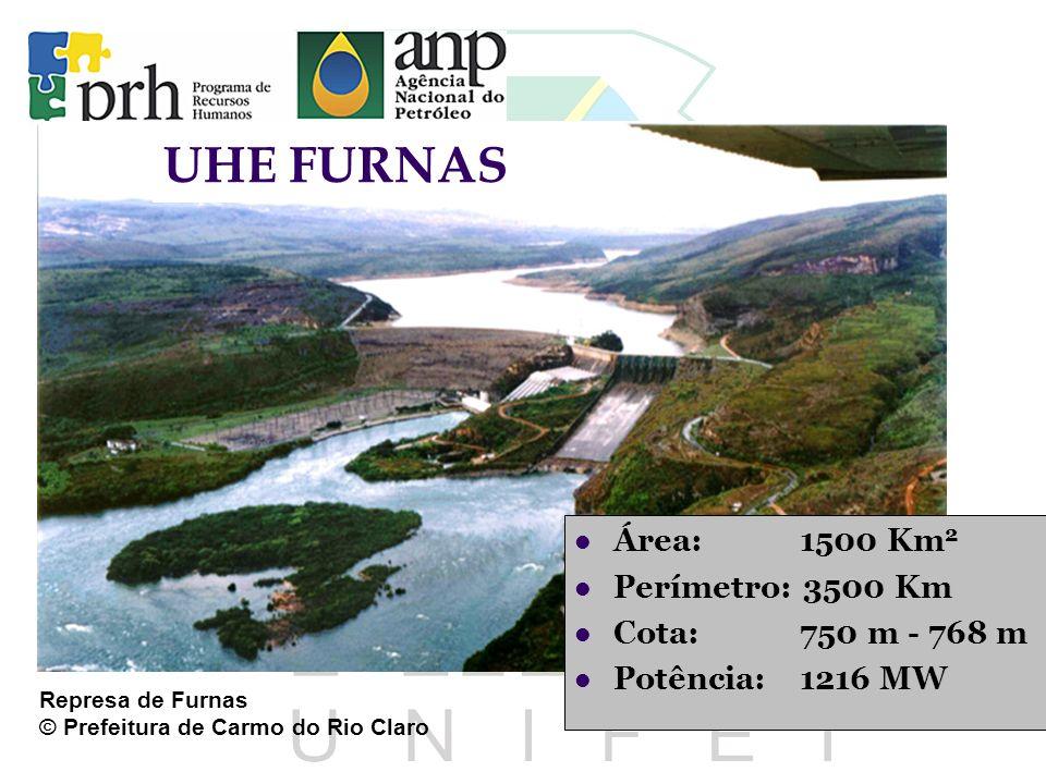 UHE FURNAS Área: 1500 Km 2 Perímetro: 3500 Km Cota: 750 m - 768 m Potência: 1216 MW Represa de Furnas © Prefeitura de Carmo do Rio Claro