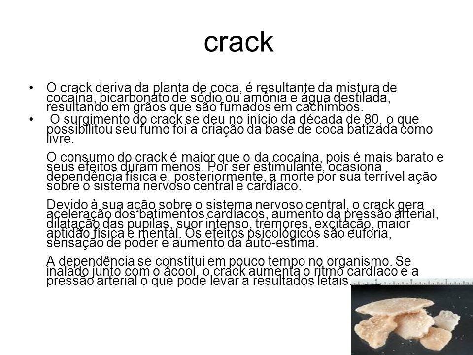 crack O crack deriva da planta de coca, é resultante da mistura de cocaína, bicarbonato de sódio ou amônia e água destilada, resultando em grãos que s