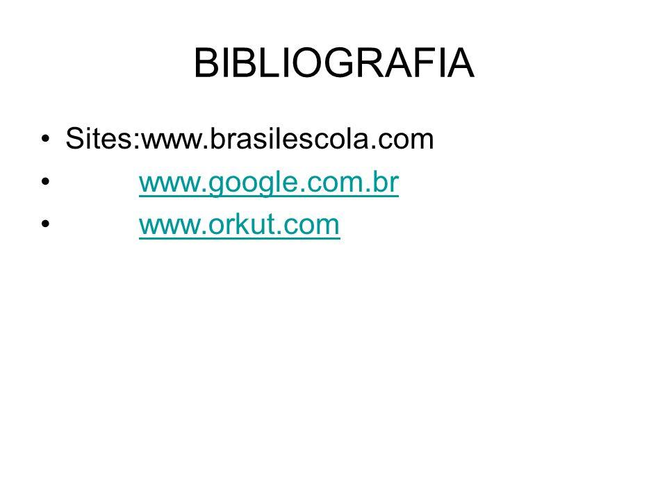 BIBLIOGRAFIA Sites:www.brasilescola.com www.google.com.br www.orkut.com