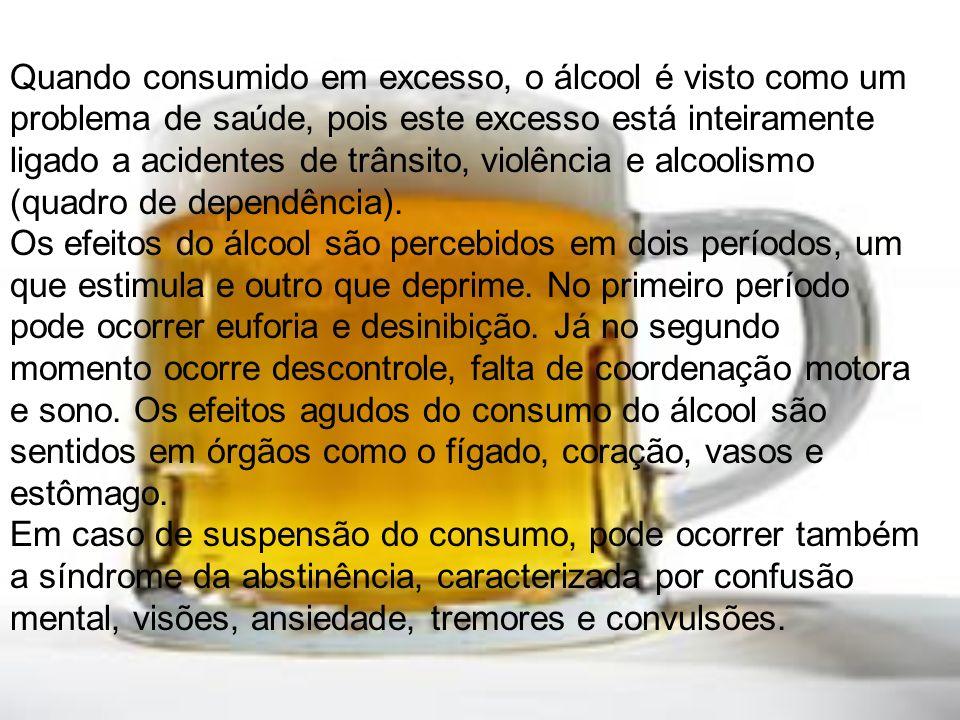 Quando consumido em excesso, o álcool é visto como um problema de saúde, pois este excesso está inteiramente ligado a acidentes de trânsito, violência