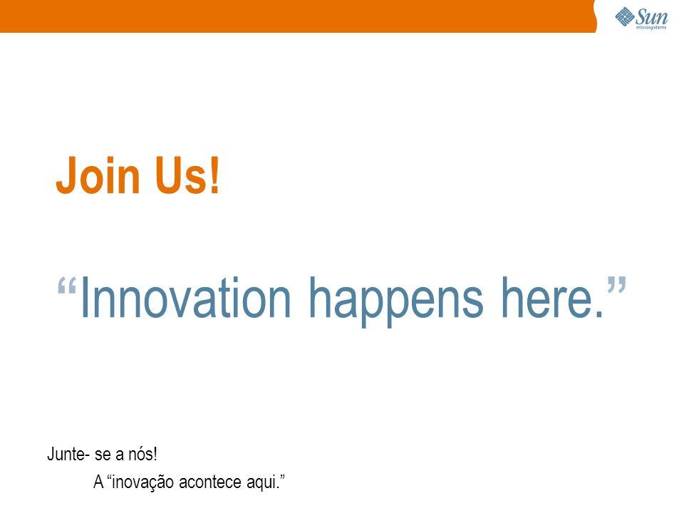 Join Us! Innovation happens here. Junte- se a nós! A inovação acontece aqui.