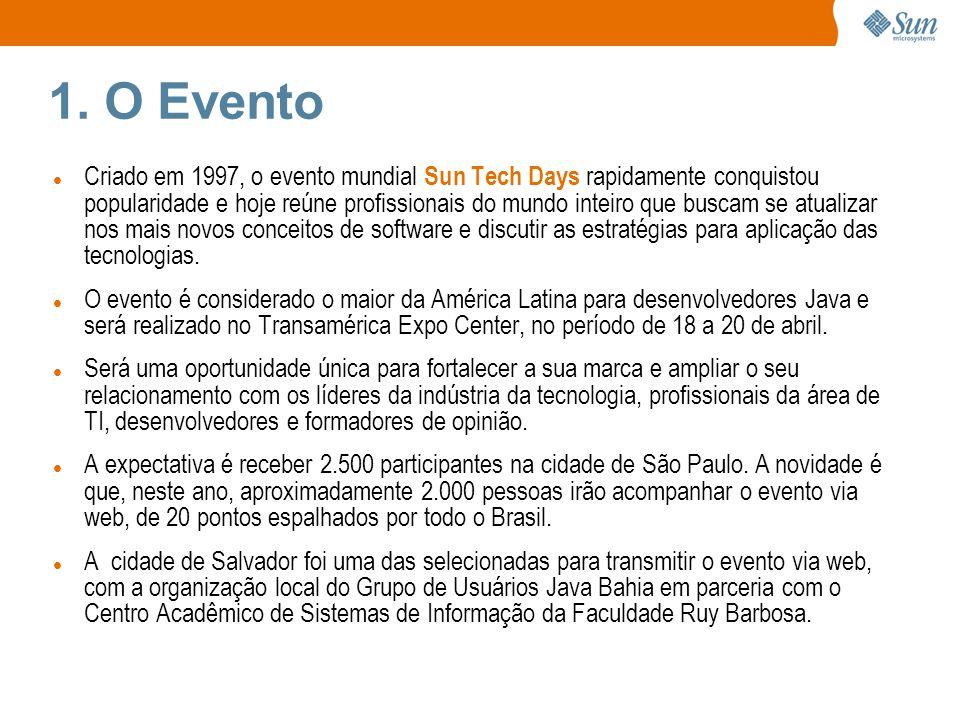 1. O Evento Criado em 1997, o evento mundial Sun Tech Days rapidamente conquistou popularidade e hoje reúne profissionais do mundo inteiro que buscam
