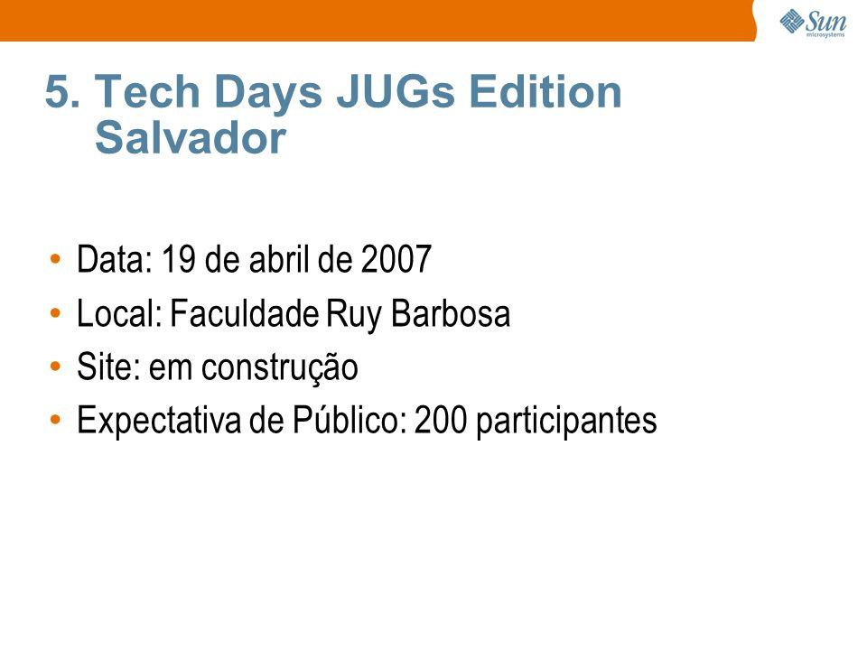5. Tech Days JUGs Edition Salvador Data: 19 de abril de 2007 Local: Faculdade Ruy Barbosa Site: em construção Expectativa de Público: 200 participante
