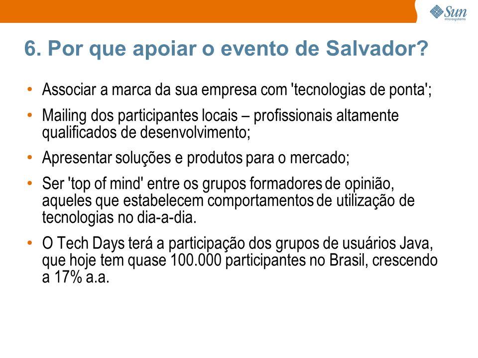 6. Por que apoiar o evento de Salvador? Associar a marca da sua empresa com 'tecnologias de ponta'; Mailing dos participantes locais – profissionais a