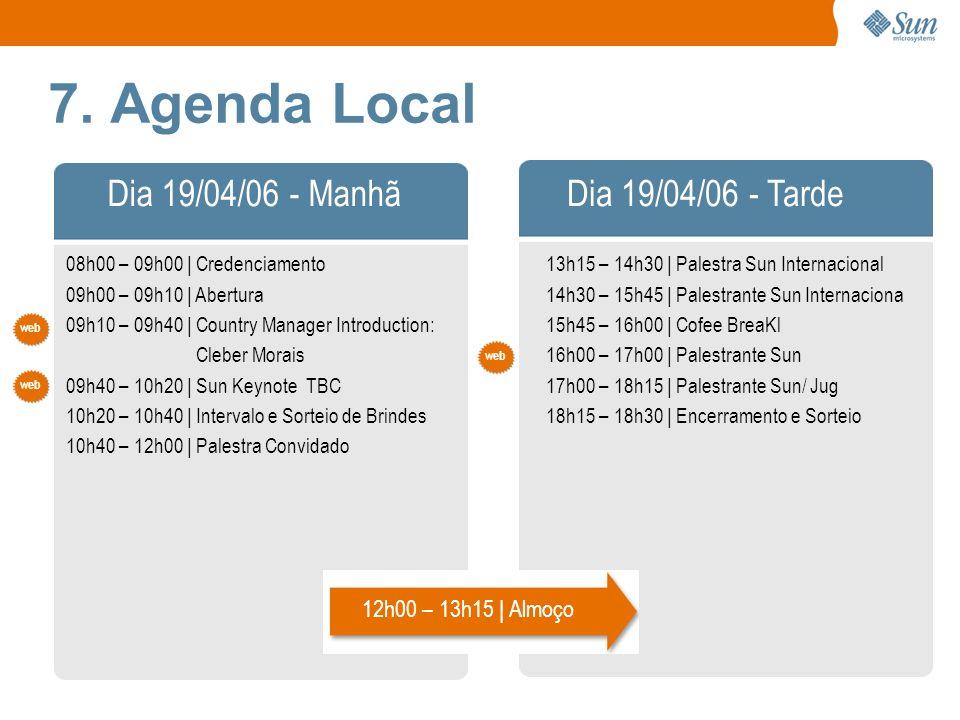 7. Agenda Local 08h00 – 09h00 | Credenciamento 09h00 – 09h10 | Abertura 09h10 – 09h40 | Country Manager Introduction: Cleber Morais 09h40 – 10h20 | Su