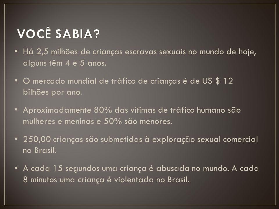Há 2,5 milhões de crianças escravas sexuais no mundo de hoje, alguns têm 4 e 5 anos. O mercado mundial de tráfico de crianças é de US $ 12 bilhões por