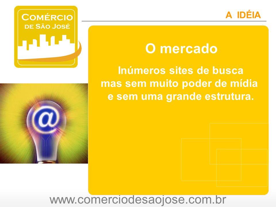 www.comerciodesaojose.com.br A IDÉIA O mercado Inúmeros sites de busca mas sem muito poder de mídia e sem uma grande estrutura.